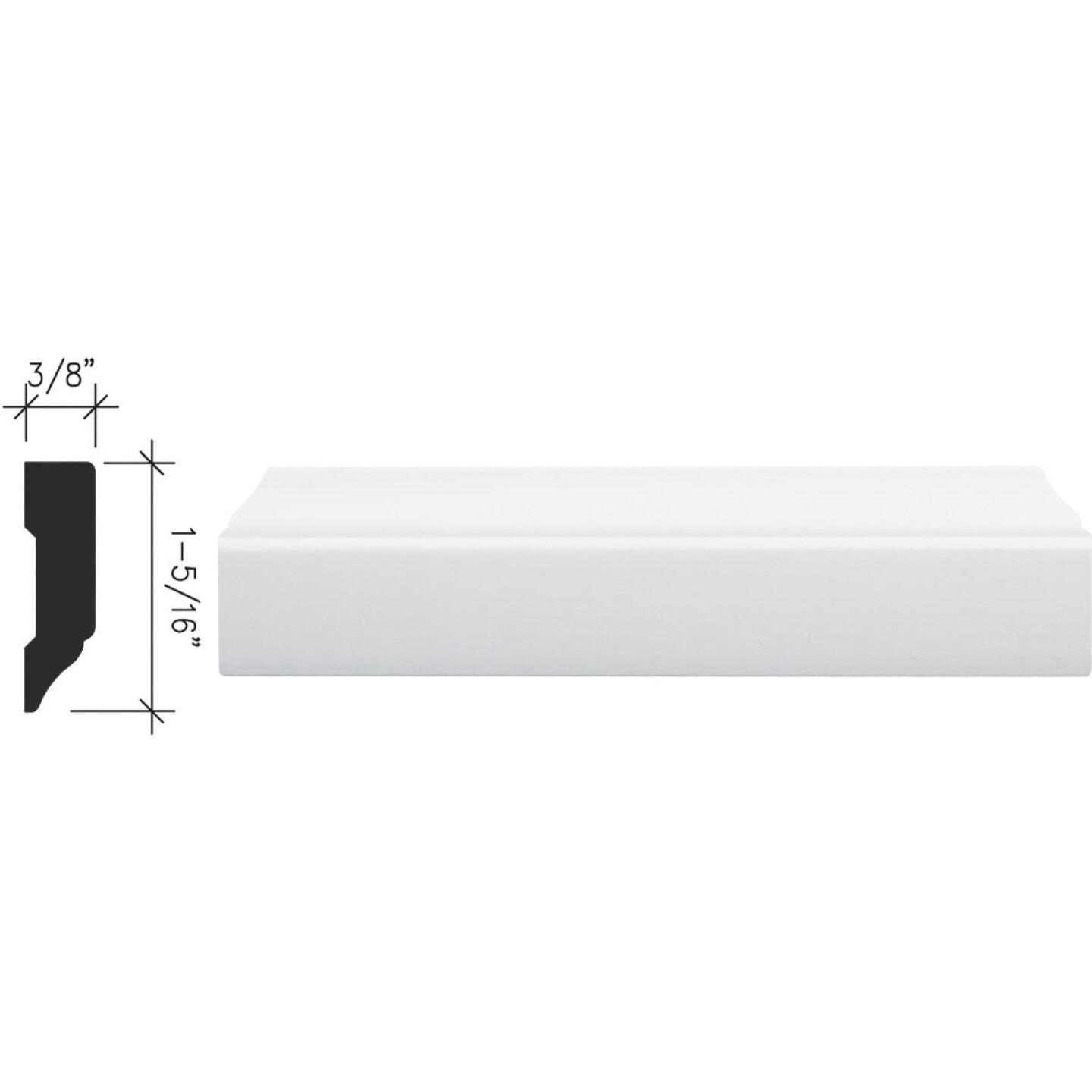 Inteplast Building Products 3/8 In. W. x 1-5/16 In. H. x 7 Ft. L. Crystal White Polystyrene Stop Molding Image 1