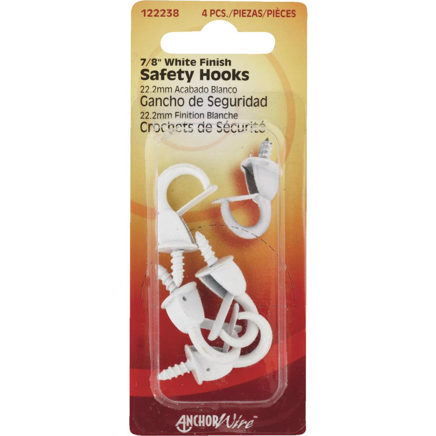 Hillman Anchor Wire 7/8 In. White Spring Safety Hook Image 1