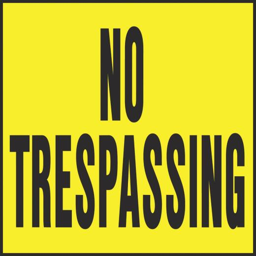 Hy-Ko Heavy Gauge Plastic  Sign, No Trespassing