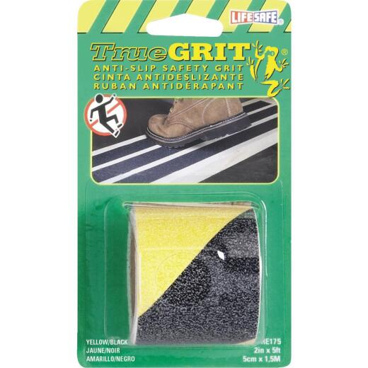 LIFESAFE 2 In.x 5 Ft. Yellow/Black Anti-Slip Walk Safety Tape
