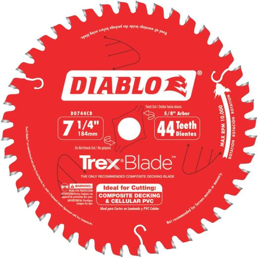 Diablo Trex Blade 7-1/4 In. 44-Tooth Composite Decking & PVC Circular Saw Blade