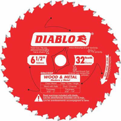 Diablo 6-1/2 In. 32-Tooth Wood & Metal Circular Saw Blade