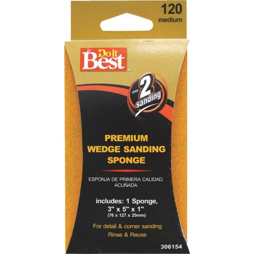 Do it Best Premium Wedge 3 In. x 5 In. x 1 In. 120 Grit Medium Sanding Sponge
