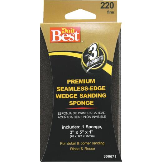 Do it Best Premium Wedge 3 In. x 5 In. x 1 In. 220 Grit Fine Sanding Sponge