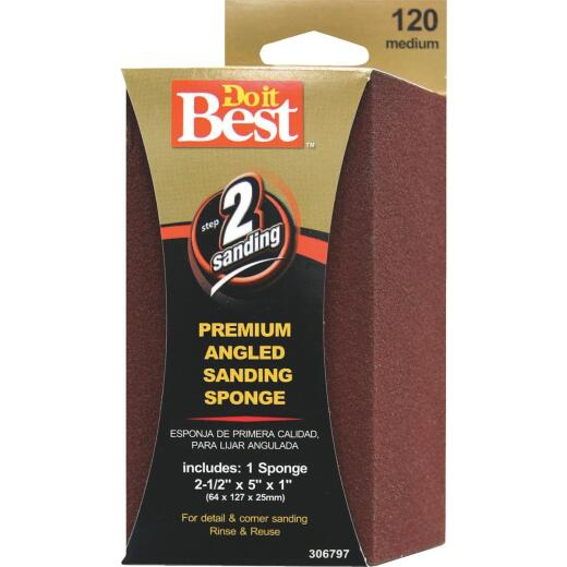 Do it Best Angled 2-1/2 In. x 5 In. x 1 In. 120 Grit Medium Sanding Sponge