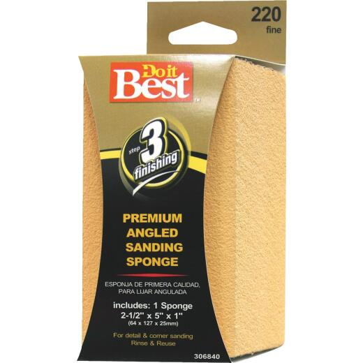 Do it Best Angled 2-1/2 In. x 5 In. x 1 In. 220 Grit Fine Sanding Sponge