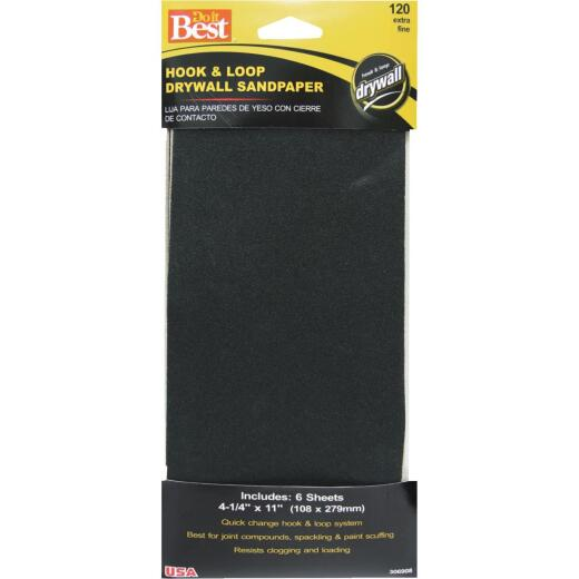 Do it Best 120 Grit 4-1/4 In. x 11 In. Hook and Loop Drywall Sandpaper (6-Pack)