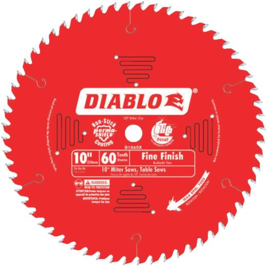 Diablo 10 In. 60-Tooth Fine Finish Circular Saw Blade
