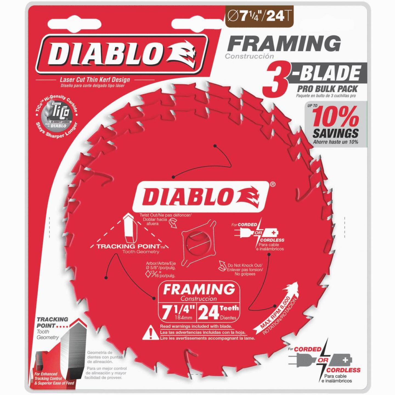 Diablo 7-1/4 In. 24-Tooth Framing Circular Saw Blade (3-Pack) Image 1