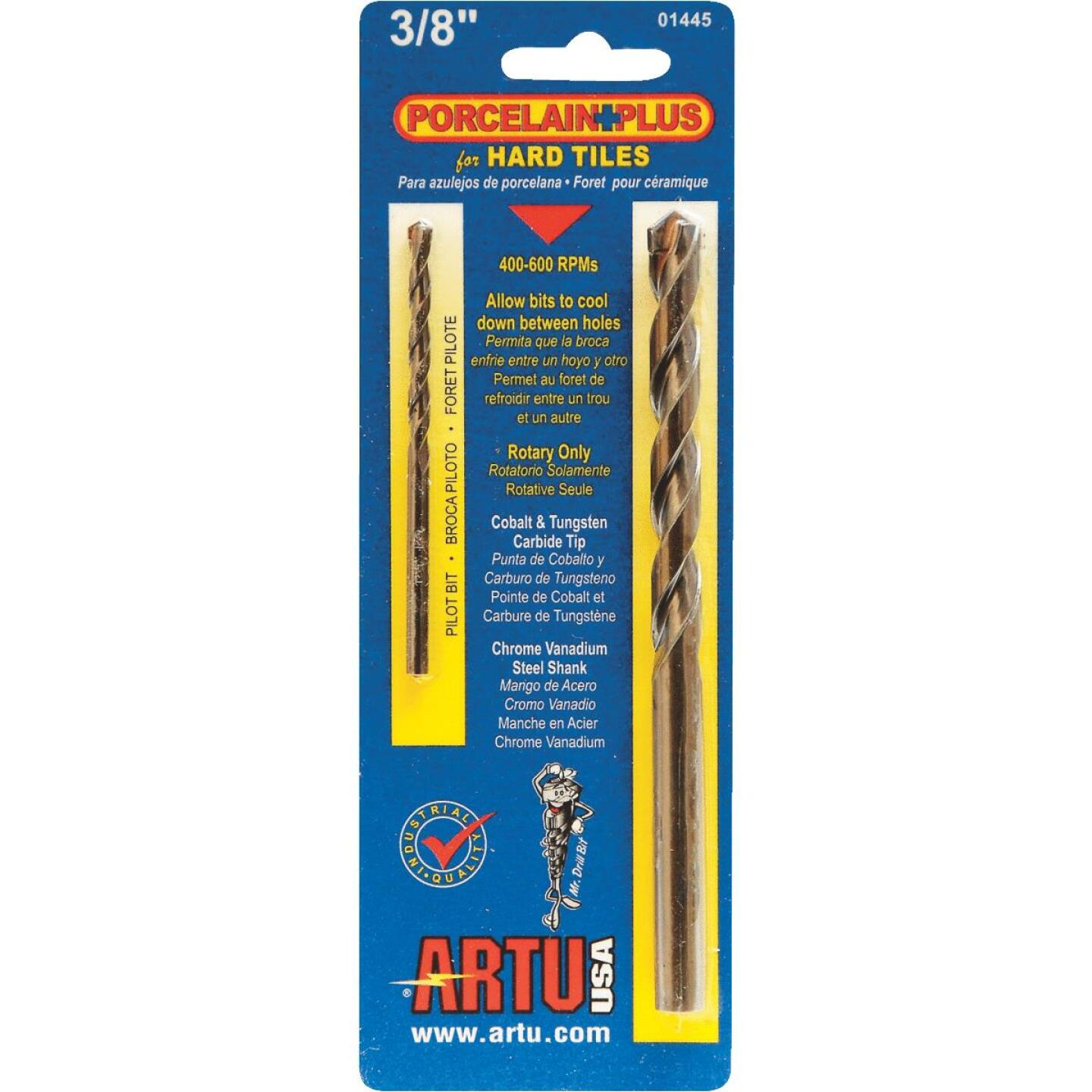 ARTU 3/8 In. x 5-5/16 In. Cobalt and Tungsten Carbide Glass & Tile Drill Bit Image 1
