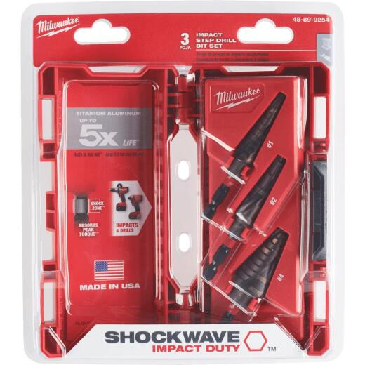 Milwaukee Shockwave Impact Duty 3-Piece Titanium Step Drill Bit Set, #1 #2 #4