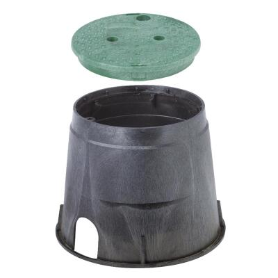 National Diversified 10 In. Round Black & Green Valve Box with Cover