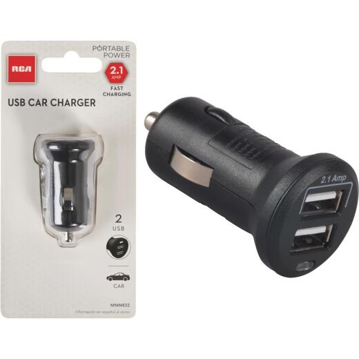 RCA 12V Dual USB Black Car Charger