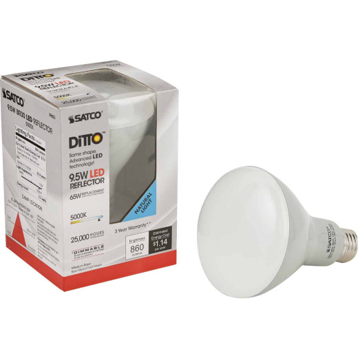 Satco Ditto 65W Equivalent Natural Light BR30 Medium Dimmable LED Floodlight Light Bulb
