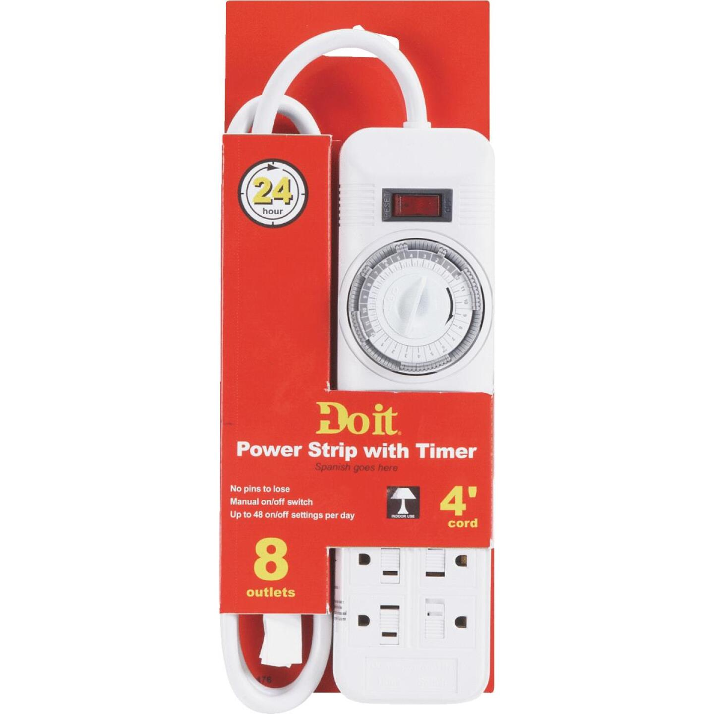 Do it 8-Outlet White Power Strip with Timer & 4 Ft. Cord Image 2