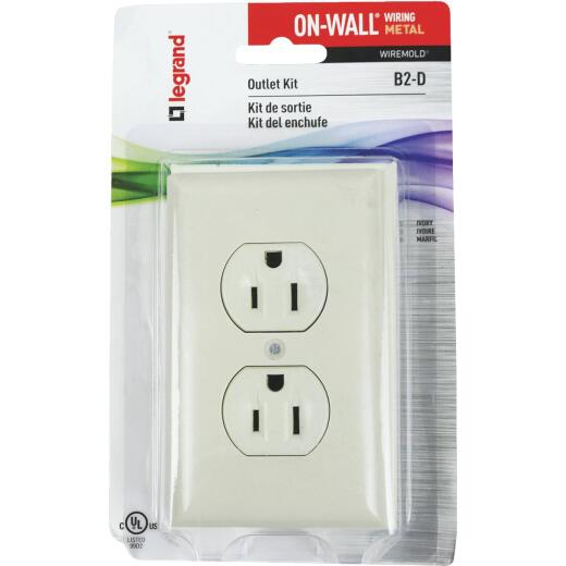 Wiremold On-Wall Ivory Metal 1 In. Outlet Box Kit