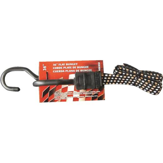 Erickson 3/4 In. x 36 In. Flat Bungee Cord, Black/White