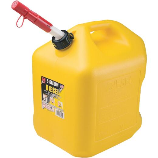 Midwest Can 5 Gal. Plastic Diesel Fuel Can, Yellow