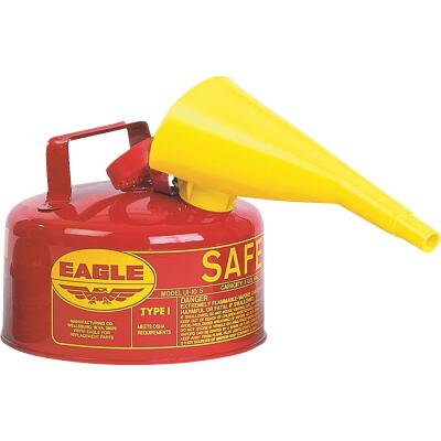 Eagle 1 Gal. Type I Galvanized Steel Gasoline Safety Fuel Can, Red