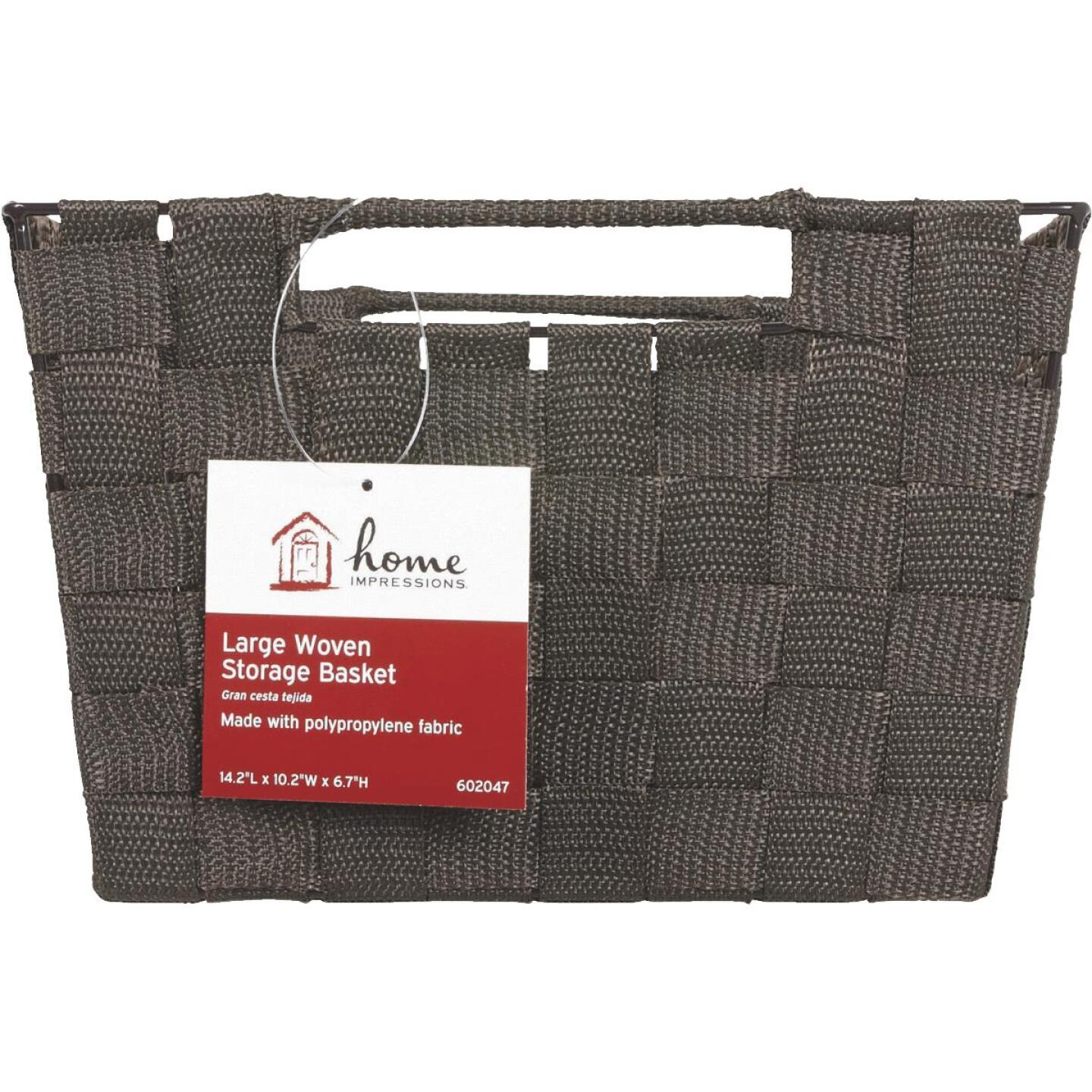 Home Impressions 10 In. W. x 6.75 In. H. x 14 In. L. Woven Storage Basket with Handles, Brown Image 2
