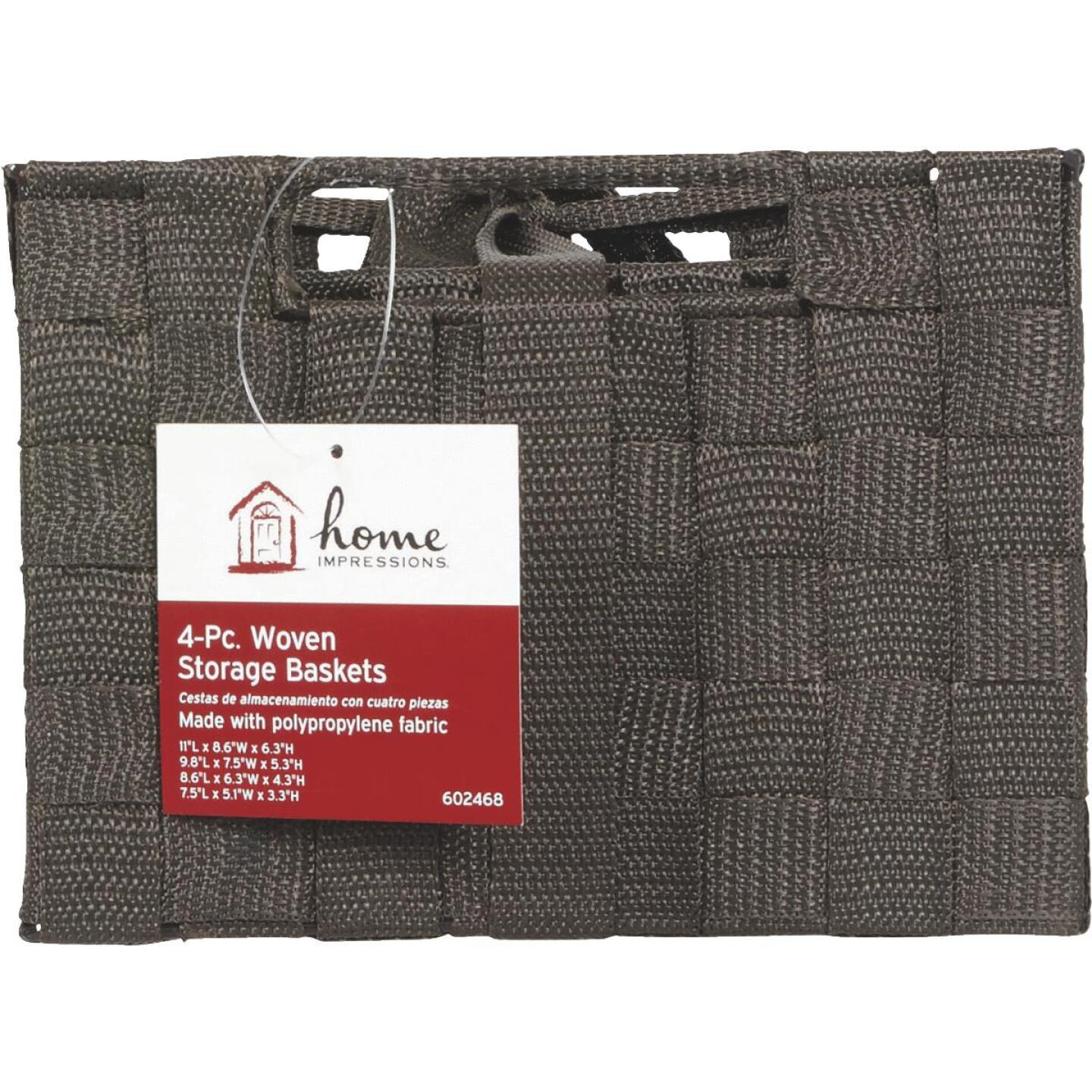 Home Impressions 4-Piece Woven Storage Basket Set, Brown Image 2