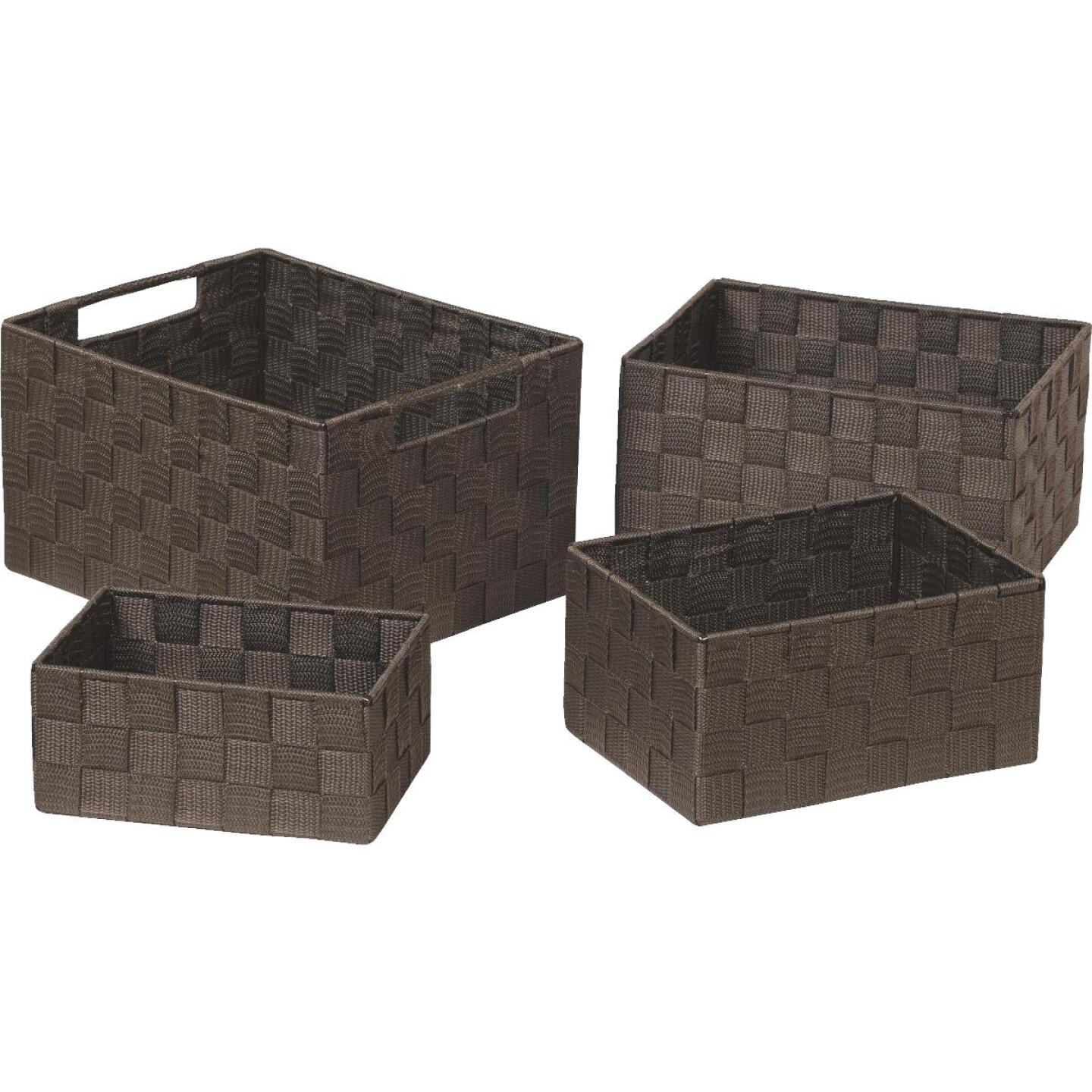 Home Impressions 4-Piece Woven Storage Basket Set, Brown Image 3