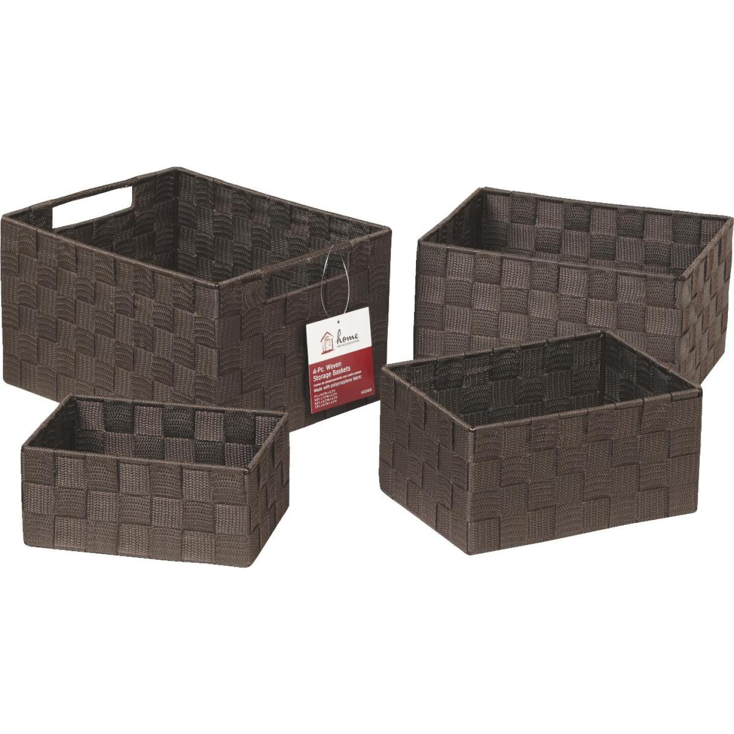 Home Impressions 4-Piece Woven Storage Basket Set, Brown Image 4