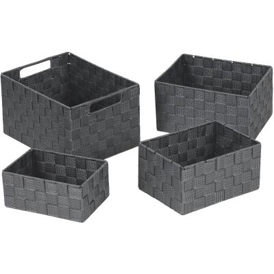 Home Impressions 4-Piece Woven Storage Basket Set, Gray