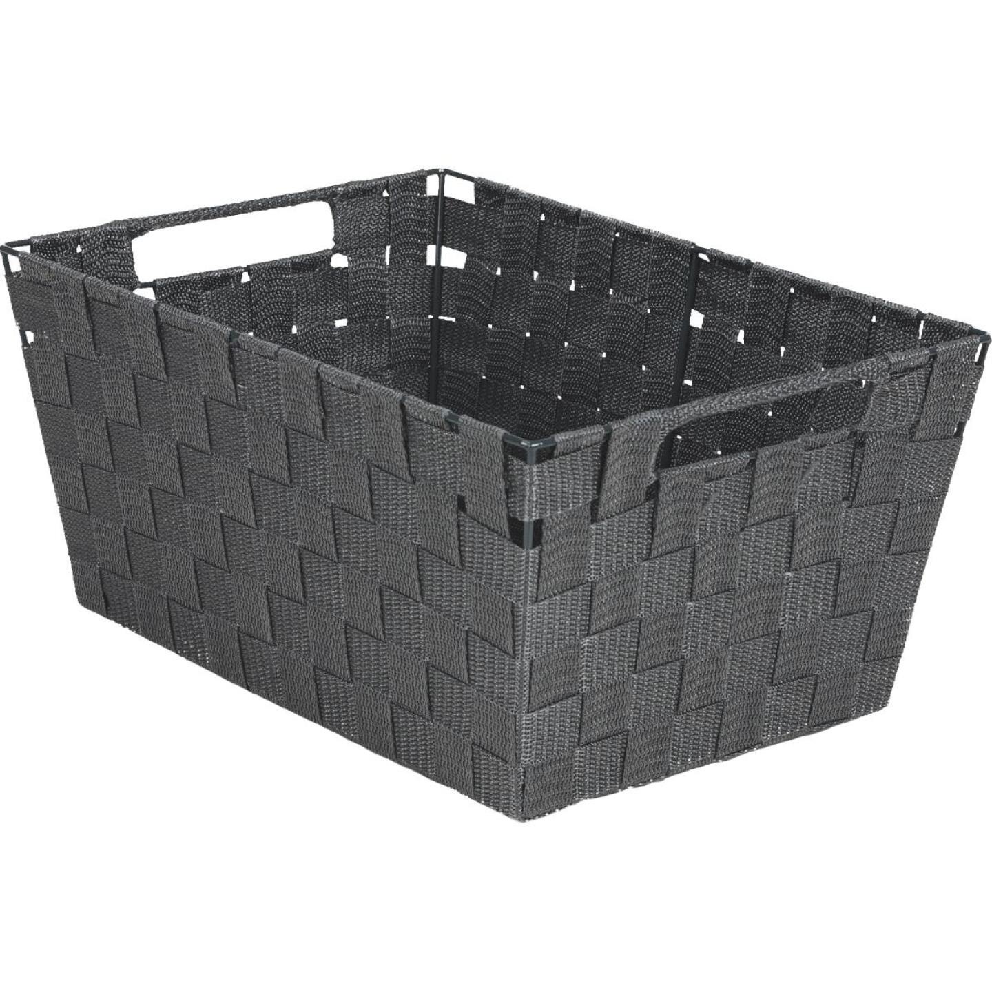 Home Impressions 10 In. W. x 6.75 In. H. x 14 In. L. Woven Storage Basket with Handles, Gray Image 1