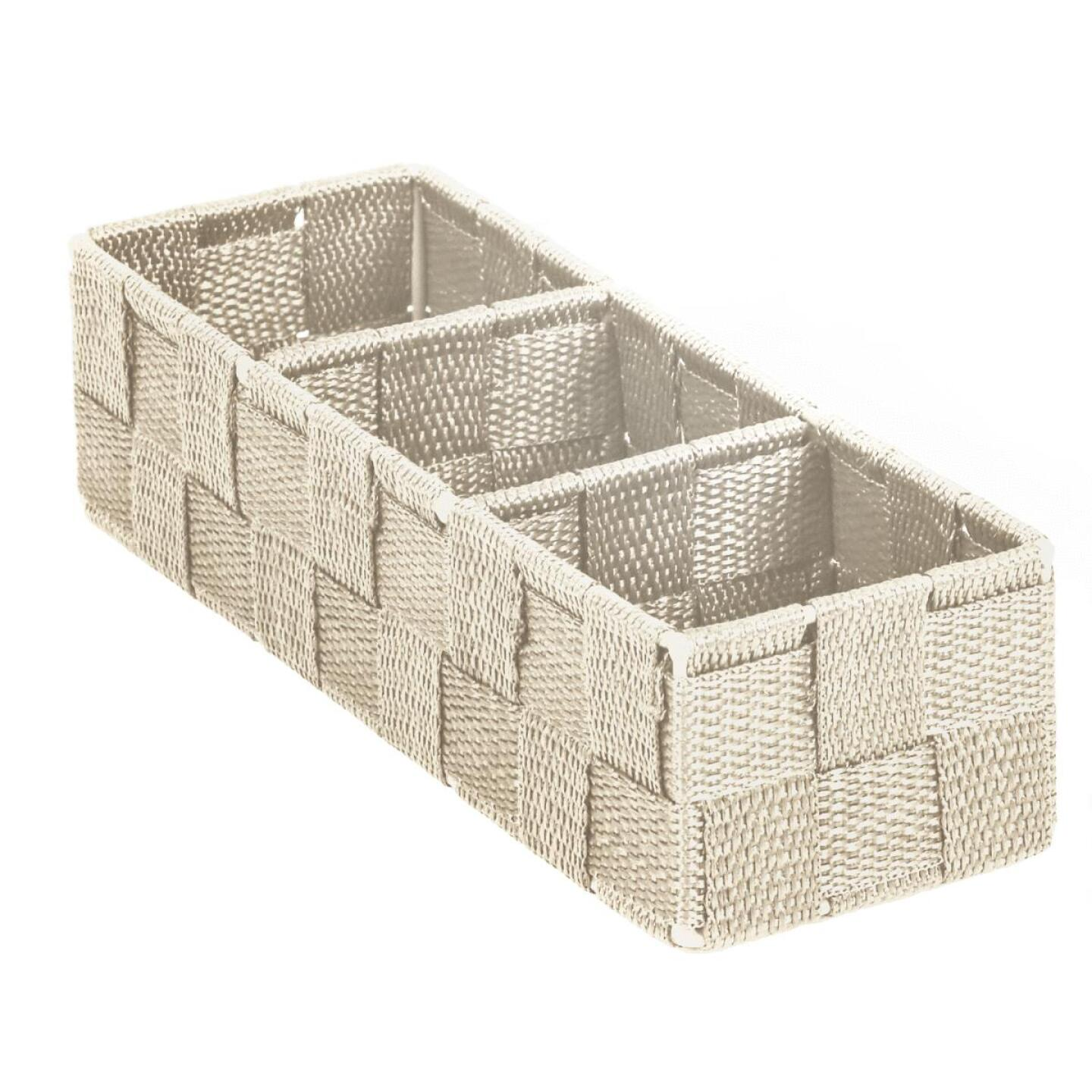 Home Impressions 3.25 In. W. x 2.25 In. H. x 9.5 In. L. Woven Storage Tray, Beige Image 1
