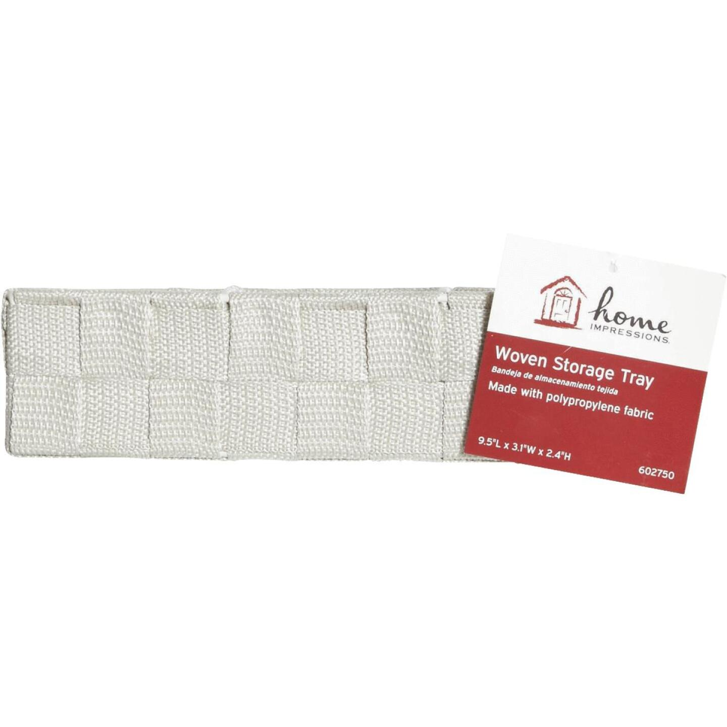 Home Impressions 3.25 In. W. x 2.25 In. H. x 9.5 In. L. Woven Storage Tray, Beige Image 2