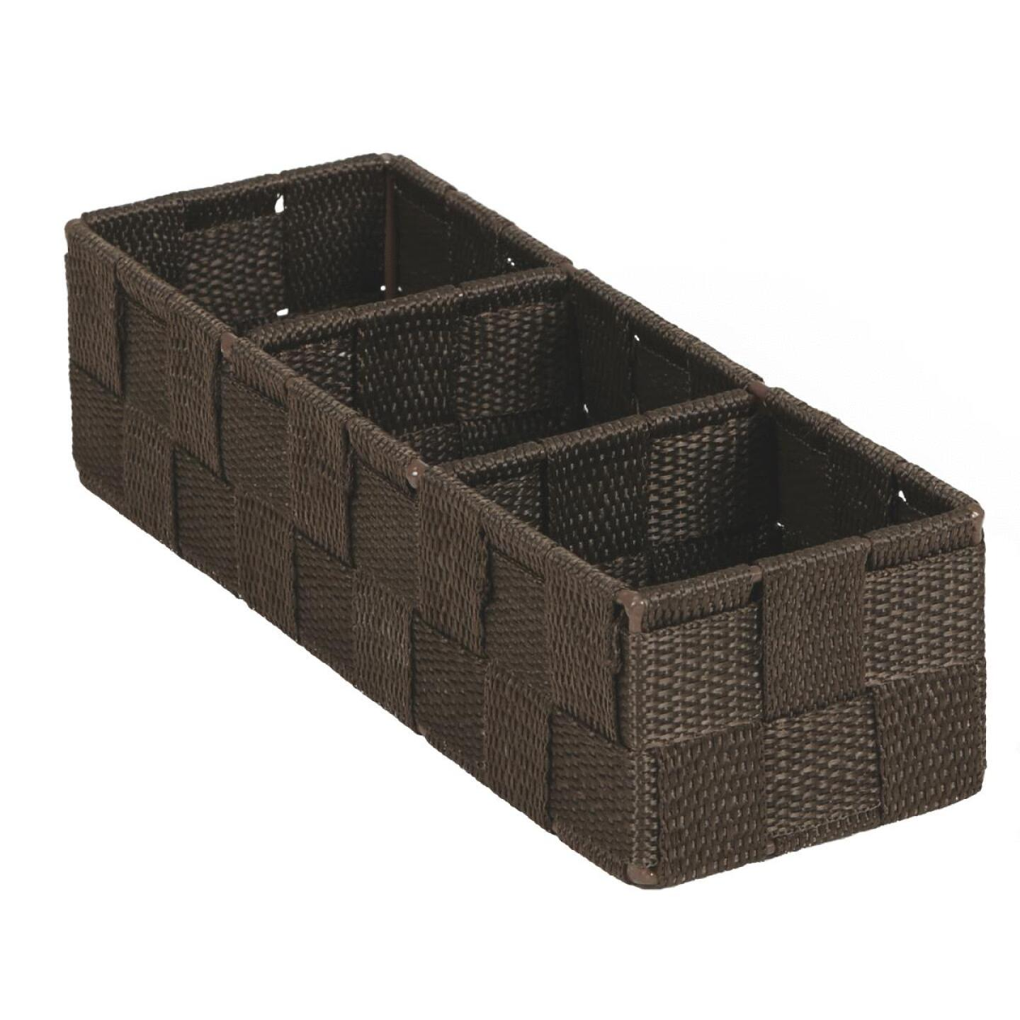 Home Impressions 3.25 In. W. x 2.25 In. H. x 9.5 In. L. Woven Storage Tray, Brown Image 1
