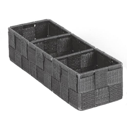 Home Impressions 3.25 In. W. x 2.25 In. H. x 9.5 In. L. Woven Storage Tray, Gray