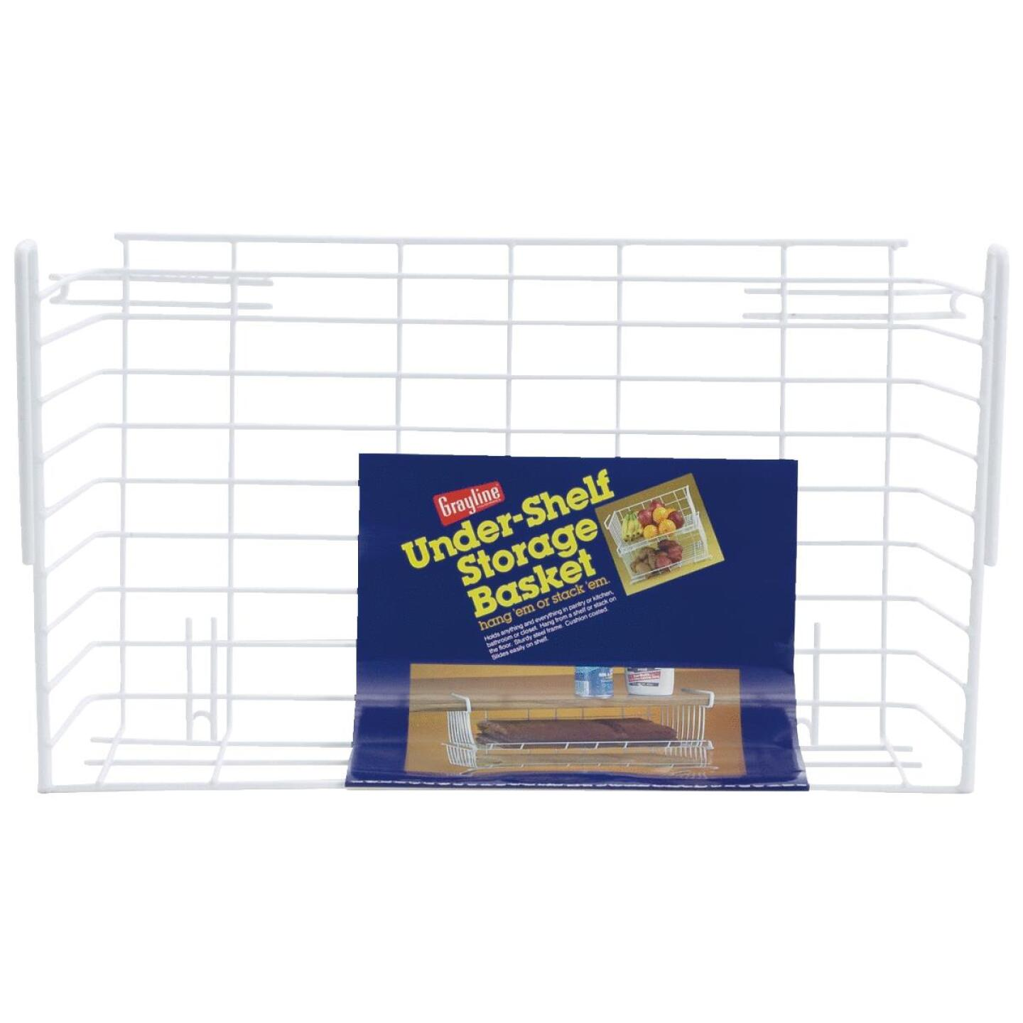Grayline 10 In. W. x 6-1/4 In. H. x 17 In. L. Vinyl Coated Wire Undershelf Storage Basket, White Image 1