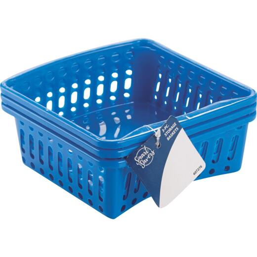 Smart Savers 5 In. W. x 2-1/3 In. H. x 6-1/2 In. L. Plastic Storage Basket (3-Pack)