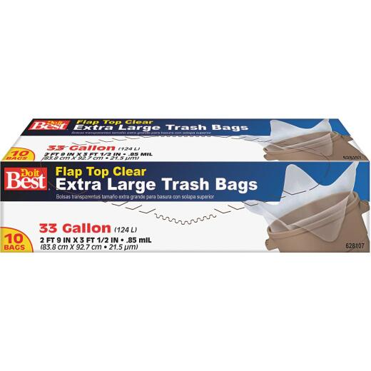 Do it Best 33 Gal. Extra Large Clear Trash Bag (10-Count)