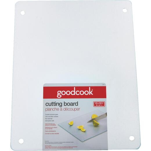 GoodCook 12 In. x 15 In. Silver Tempered Glass Cutting Board