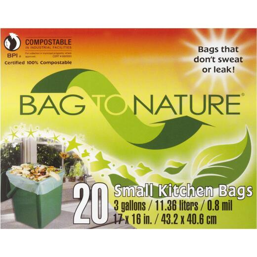 Bag-To-Nature 3 Gal. Compostable Green Trash Bag (20-Count)