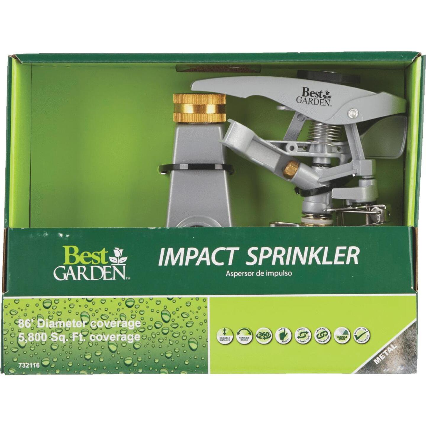 Best Garden Metal 5800 Sq. Ft. Wheeled Impulse Sprinkler Image 2