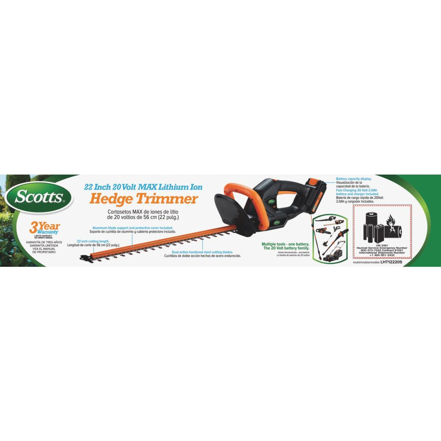 Scotts 22 In. 20V Lithium Ion Cordless Hedge Trimmer Image 2