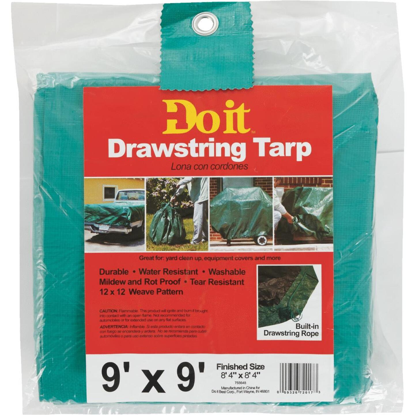 Do it 9 Ft. x 9 Ft. Poly Fabric Green Lawn Cleanup Tarp Image 1