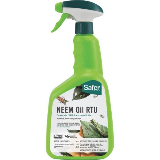 Safer 32 Oz. Ready To Use Trigger Spray Organic Neem Oil Fungicide, Miticide, Insecticide