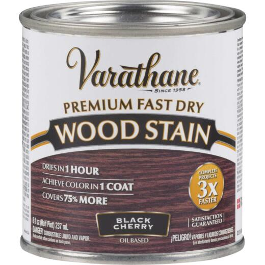 Varathane Fast Dry Black Cherry Urethane Modified Alkyd Interior Wood Stain, 1/2 Pt.