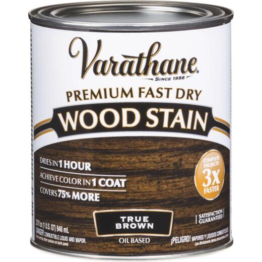 Varathane Fast Dry True Brown Urethane Modified Alkyd Interior Wood Stain, 1/2 Pt.