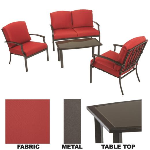 Pacific Casual Sienna 4-Piece Metal Chat Set with Cushions