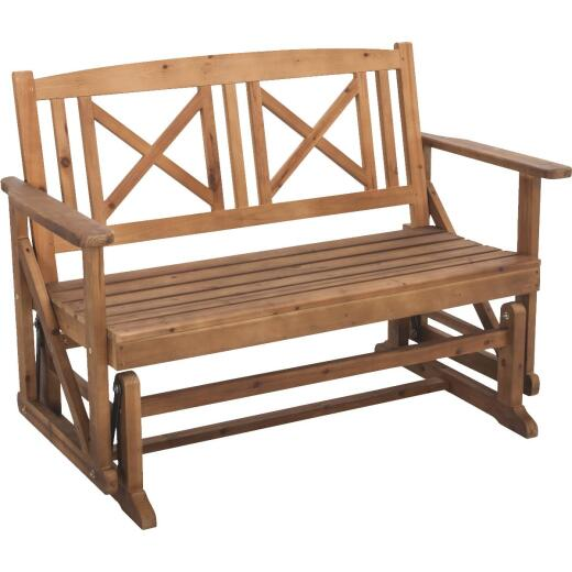 Jack Post Tan Wood Decorative Glider Bench
