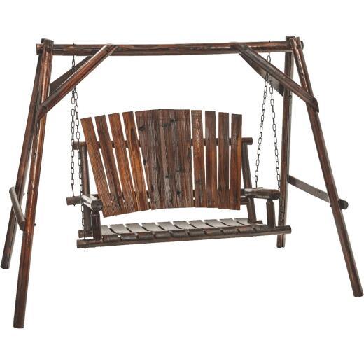 Char-Log 2-Person 90 In. W. x 67.5 In. H. x 50 In. D. Charred Wood Patio Swing