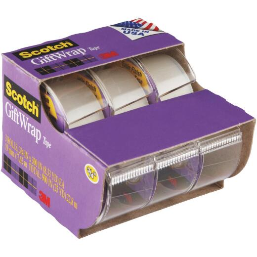 3M Scotch 3/4 In. x 300 In. Gift-Wrap Transparent Tape (3-Pack)